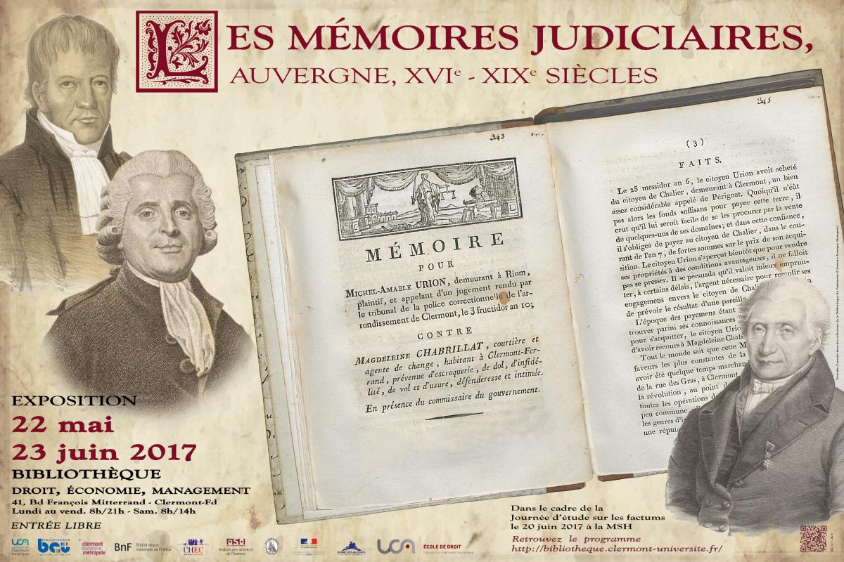 """Affiche exposition """"Les mémoires judiciaires, Auvergne, XVe - XIXe siècles"""""""